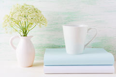 Coffee mug mockup light green latte shape Royalty Free Stock Photos