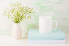 Coffee mug mockup light green Stock Image