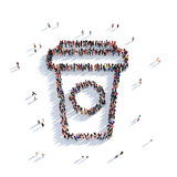 Coffee mug people 3d. Large and creative group of people gathered together in the form of a coffee mug. 3D illustration, isolated against a white background. 3D Stock Photo