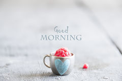 Coffee mug with raspberries and notes good morning, breakfast on Mothers day or Womens Stock Photo