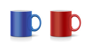 Coffee mug red and blue vector. Realistic Royalty Free Stock Photos