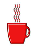 Coffee Mug with Steam. Red shiny coffee mug with glossy steam stock illustration