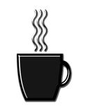 Coffee Mug with Steam. Black shiny coffee mug with glossy steam stock illustration