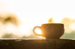 Coffee mug or tea cup. With smoke in natural outdoor Royalty Free Stock Photo