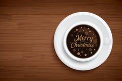 Coffee mug with words merry Christmas on brown wood table. Vector coffee mug with words merry Christmas on brown wood table vector illustration