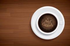 Coffee mug with words merry Christmas on wood table. Coffee mug with words merry Christmas on brown wood table vector illustration