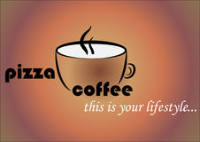 A coffee mug with the words pizza and coffee. Advertising logo for a coffee house and pizzeria. Stock Image