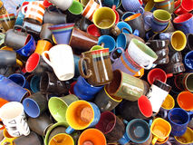 Coffee Mugs. Pile of colorful ceramic coffee mugs Royalty Free Stock Photos