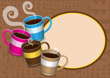 Coffee mugs. Illustration of four colorful mugs Royalty Free Stock Photography