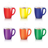 Coffee mugs. Six bright coffee mugs with steam and shadow Stock Photos