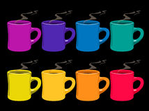 Coffee mugs. Illustration of eight coffee mugs on black background Royalty Free Stock Photos