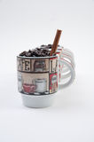 Coffee Mugs with Beans Stock Images