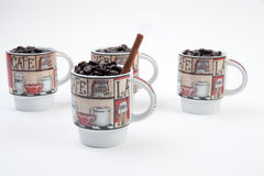 Coffee Mugs with Beans Stock Photo