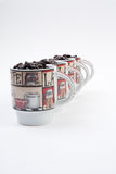 Coffee Mugs with Beans Stock Photography