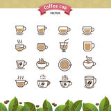 Coffee mugs and cups brown outline icons set. Vector Illustration Stock Image