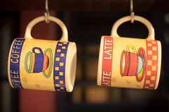 Coffee mugs. Empy Coffee mugs, , retro style stock images