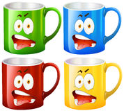 Coffee mugs with facial expressions. Illustration Stock Images