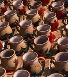 Coffee mugs on the market. Royalty Free Stock Image