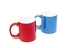 Coffee Mugs. A pair of red and blue coffee mugs Royalty Free Stock Images