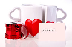 Coffee mugs in shape of hear Royalty Free Stock Photography