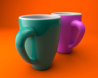 Coffee mugs. Two cups of coffee color Royalty Free Stock Image