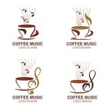 Coffee with music logo concept stock image