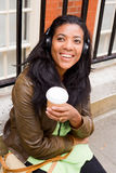 Coffee, music and woman.... Royalty Free Stock Photo