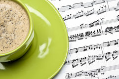 Coffee and musical score Stock Photography