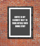 Coffee is my favorite way written in picture frame Royalty Free Stock Photography