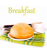 Coffee and newly baked bread Stock Images
