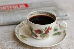 Coffee and News Paper Stock Images