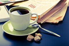 Coffee and newspaper Royalty Free Stock Image