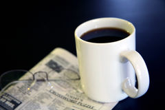 Coffee and Newspaper Stock Photo