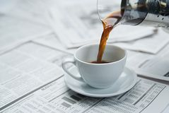Coffee newspaper , business Royalty Free Stock Photos
