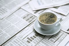 Coffee newspaper , business Stock Photos