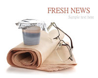 Coffee and newspaper. Stock Photography