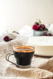 Coffee and no bake cheesecake mousse with cherries Stock Image