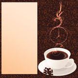 Coffee note. A cup of coffee, with coffee bean pattern as background, smoke taking clocklike form and description notepad/Coffee note Stock Photography