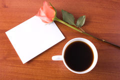 Coffee note. Notepad wth rose and coffee Stock Photos