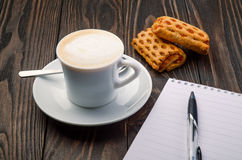Coffee and Note Pad Stock Photos