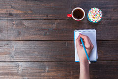 Coffee, notebook, pencil Stock Photography