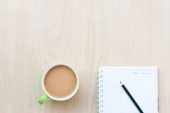Coffee and notebooks empty. Breakfast in the morning. On an copy space. The Creative modern Business top view Stock Images