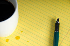 Coffee and Notepad Stock Photos