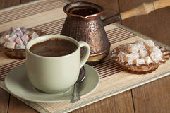 Coffee,nougat and candy. Cup of coffee, nougat and candy Stock Photography
