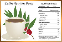 Coffee Nutrition Facts. Cup of coffee with a coffee plant branch and a nutrition label Stock Photos
