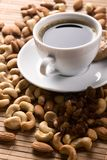Coffee with nuts, fig and raisins Stock Photos