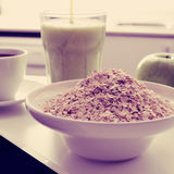 Coffee, oatmeal cereal, apple and smoothie, filtered Royalty Free Stock Image