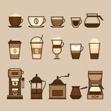 Coffee objects and equipment. Cup and coffee brewing methods. Co royalty free illustration