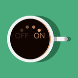 Coffee on and off. Cup of coffee with turn on and off switch. Morning, beginning of day, coffee break concept. EPS 10 vector illustration, no transparency Stock Image