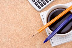Coffee and office accessories Stock Photography